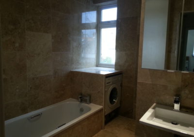 New marble bathroom included custom made cupboards, shower, bath, basin, toilet