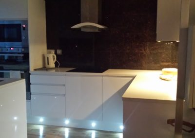 New kitchen in Belsize Park with marble tiling, new appliances & lighting