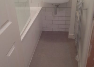 New bathroom and sep WC tiled and vinyl floor with new fittings