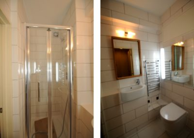 Bathroom makeover with brickwork tiling, new fittings, lighting & plumbing