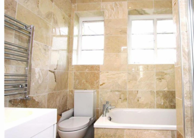 Marble bathroom makeover - new shower, bath, toilet, basin, lighting