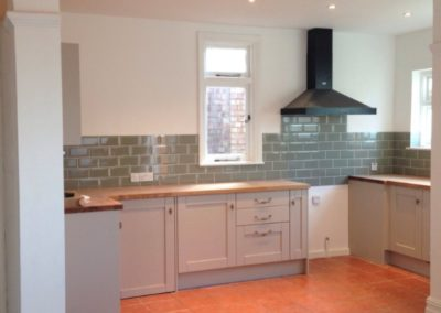 New kitchen, removal of dividing walls, levelling of floor, new tiling
